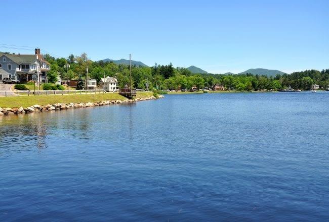 Lake Flower in village of Saranac Lake in Adirondack Mountains, New York, USA.